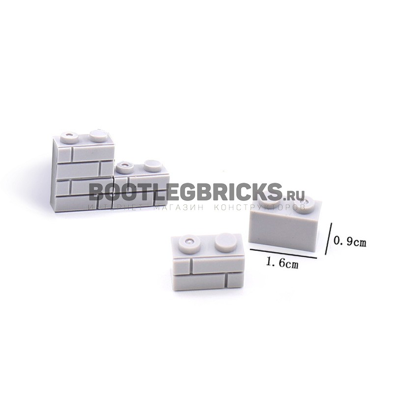 JX017-2 Elephant Строительный блок 1 х 2 светло-серый - 100 шт.