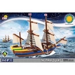 """Корабль """"Пилигрим"""" с тремя фигурками людей. COBI 21077."""