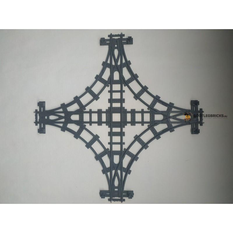 Конструктор Рельсы 98215-STR3 Рельсы ЖД - тройной стрелочный перевод