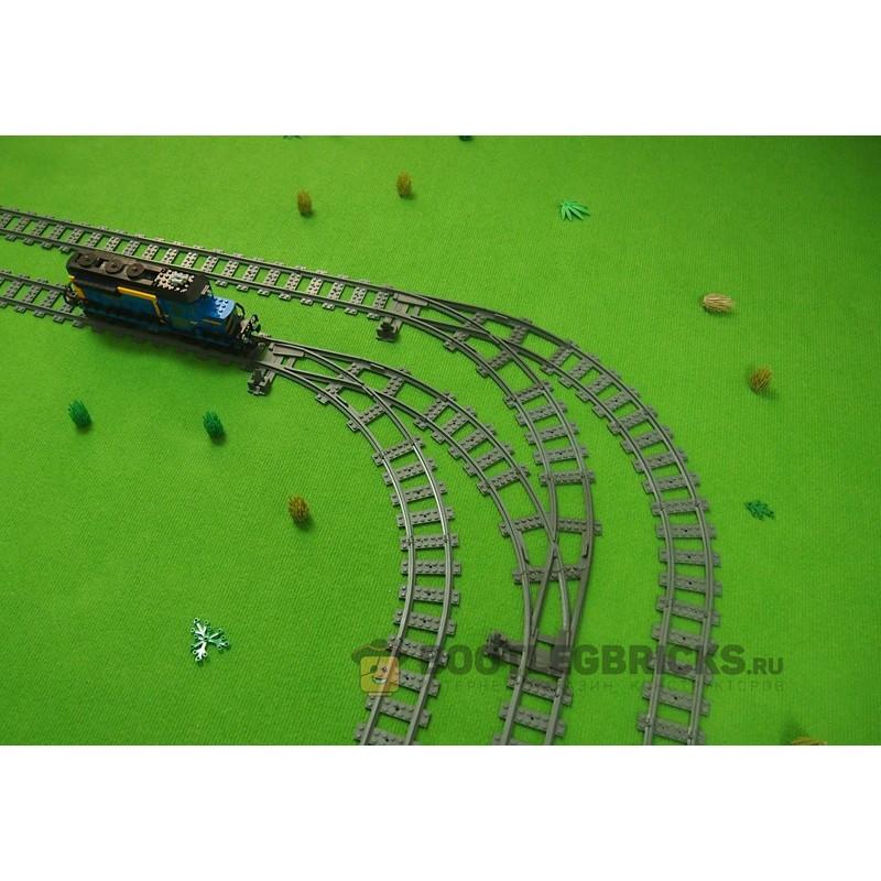 Конструктор Рельсы 98215-STR90R Рельсы ЖД - двойной стрелочный перевод направо на 90°