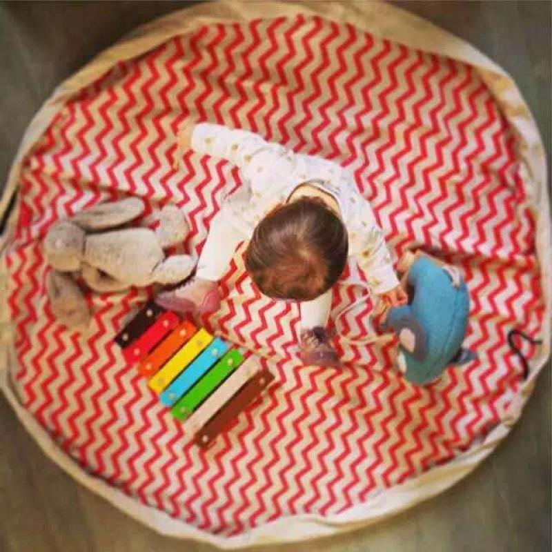 """Коврик-мешок для игры в Лего 140 см """"ЗИГ-ЗАГ красный"""""""