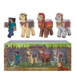 "Набор из 4 фигурок ""Стив и караван Лам"" Steve with Llama caravan Minecraft (Jazwares оригинал)"