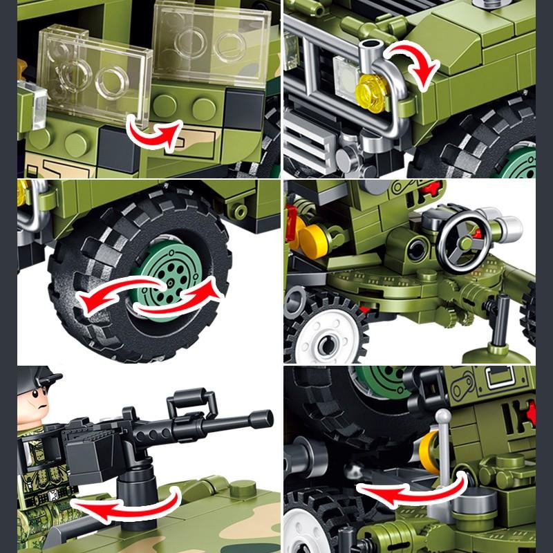 636007 Panlos Brick Джип с Зенитной Установки ЗСУ-23-2