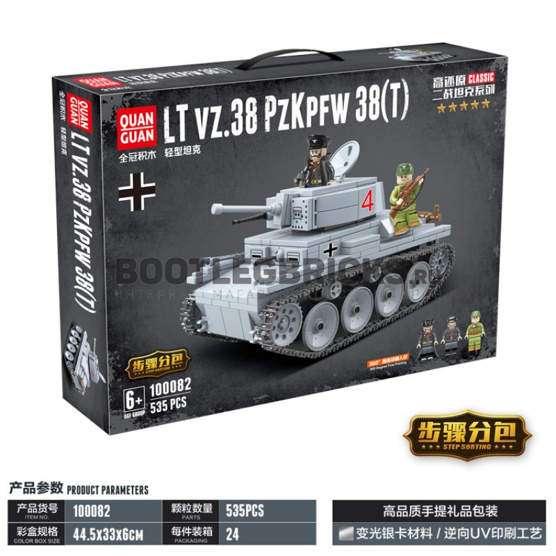 Конструктор 100082 Quanguan Легкий немецкий танк LT vz.38 PZKPFW 38(t)