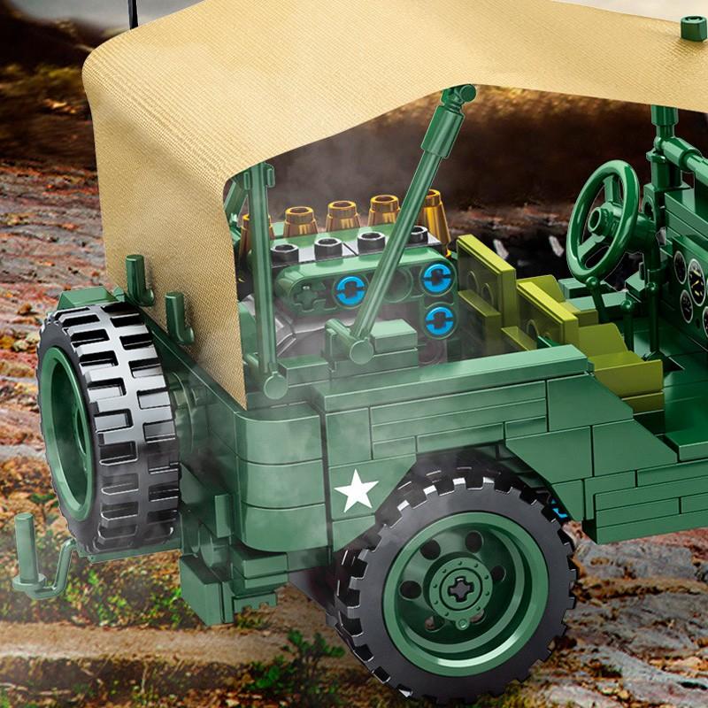 705805 Sembo Block Армейский джип Willys с пушкой