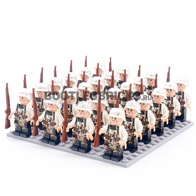 DZ-103 TBS Toys Солдаты: 24 минифигурки, 24 винтовки, 1 пластина 16х16